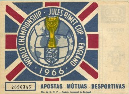 ENGLAND 1966 -  World Championship - Jules Rimet Cup - Totobola 45 - Portugal - 4 Scans - Lottery Tickets