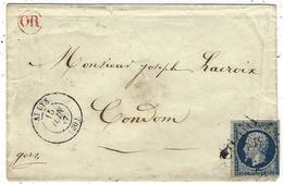 1857- Enveloppe De ST LYS ( Hte Garonne) Cad T15 Affr. N°14  Oblit. P C 3173 Pour Comdon + OR Rouge - Marcophilie (Lettres)