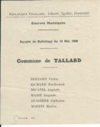 ELECTIONS TRACT  HAUTES ALPES TALLARD 1929 - Historical Documents