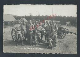 MILITARIA CARTE PHOTO MILITAIRE SOLDATS & CANON SOUVENIR BITCHE 1921 NON ECRITE : - Personen