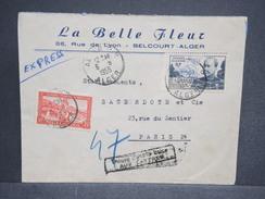 """FRANCE / ALGÉRIE - Enveloppe En Exprès De Alger Pour Paris En 1955 , Griffe """" Trouvé à La Boite Aux Lettres """" - L 6503 - Algeria (1924-1962)"""