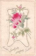 Carte Postale Ancienne Fantaisie - Gaufrée - Fleurs - Roses - Souhaits - Sincères - Fantaisies