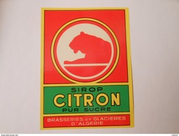 P179 - étiquette De Sirop Citron - Brasseries Et Glacières D' Algérie - Etiquettes