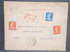 FRANCE - Enveloppe En Recommandé Chargé De Bordeaux Pour Lille En 1912 , Affranchissement Semeuse - L 6515 - Marcophilie (Lettres)