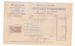 (n°13) Facture Quittance D'abonnement SUD ELECTRIQUE Commune D'ARLES 1917 Timbre Fiscal Recu D'objets 10ct - Electricité & Gaz
