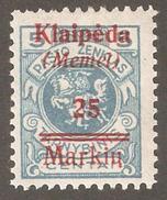 Memel-Klaipeda 1923 Under Lithuanian Administration,Sc # N2,VF MH OG (A-6) - Memel (1920-1924)