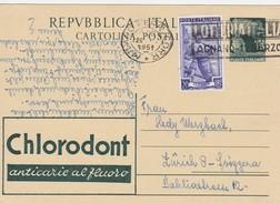 Italie Entier Postal Avec Publicité Pour La Suisse 1951 - Interi Postali