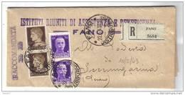 A3 - REGNO : Raccomandata R.r. Da FANO Del 22/6/1943 . Imperiale - 1900-44 Vittorio Emanuele III
