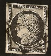 FRANCE Yvert 3 (º) Tipo Cérès  Obliteracion Grillé  20 Céntimos Negro 1849  NL1137 - 1849-1850 Cérès