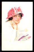 Usaba - Image Of Woman With Book / Erkal No. 308/2 / Postcard Circulated, 2 Scans - Künstlerkarten