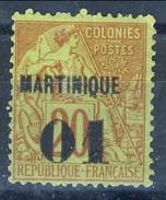 Martinique 1888 - 91 N. 3 - 01 Su C. 20 Rosso Mattone Su Verde MNG (senza Gomma) Cat. € 28 - Martinica (1886-1947)