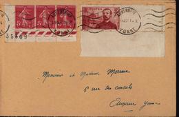 YT 352 Pierre Loti Et 378b X3 Semeuse Camée Les 2 Avec Coins De Feuille Auxerre Yonne 1937 - Poststempel (Briefe)