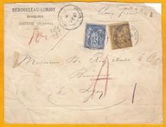 1883 - Devant De Lettre Chargée (100 Francs) De DECIZE Vers LYON - 15 C YT90 Et 30 C YT 93 - 1876-1898 Sage (Type II)