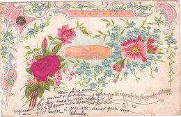 Carte Postale Ancienne Fantaisie - Gaufrée - Fleurs - Rose En Tissu - Main - Fantaisies
