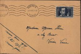 YT 385 Pasteur Pour Les Chômeurs Intellectuels CAD Auxerre RP Et R Yonne 21 IX 1938 Seul Sur Lettre Bon Timbre - Storia Postale