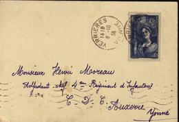 YT 388 Champagne Chapenoise Coifée Du Toquat Seul Sur Lettre CAD Verrières Vienne 6 10 1938 - Marcophilie (Lettres)