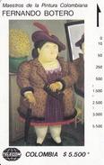 TARJETA DE COLOMBIA DE TELECOM DE $5500 MAESTROS DE LA PINTURA (FERNANDO BOTERO) MUJER CON ABRIGO DE PIEL - Pintura