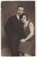 ARMENIAN PHOTOGRAPHED COUPLE  NIKOLA ANDRIOMENOS  1927 TURKEY ISTANBUL STUDIO - Armenia