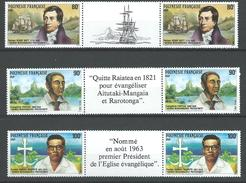 """Polynésie YT 318A à 320A Paire Vignette """" Grands Missionnaires Protestants """" 1988 Neuf** - French Polynesia"""