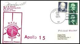 USA: 'Apollo-15 In Space - NASCOM Station Honolulu, Hawaii, 1971' - Briefe U. Dokumente