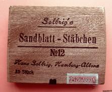 Boite De Cigares  Vide  En Bois - SOLBRIG'S SANDBLATT - STÄBCHEN N°12 - Hans Solbrig, Hamburg Altona - Boites à Tabac Vides
