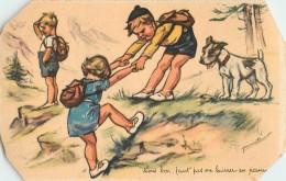 """TROIS ENFANTS ET UN CHIEN  - G. BOURET -  """" TIENS BON FAUT PAS ME LAISSER EN PANNE !"""" -  4 ANGLES DE LA CARTE COUPES - Bouret, Germaine"""