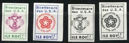1976 - L´ILE ROY 4 Vignettes** Bicentenaire USA - N° 265 ET 266  + 2 Essais +8 Spécimens ( NonDentelées) - Erinnofilie