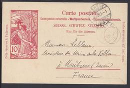 SUISSE - 1900 - Carte Entier Postal 10 Ct U.P.U - Voyagé De Genève à Moutiers - FR - - Entiers Postaux