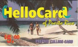 TARJETA DE PUERTO RICO DE $5 DE HELLO CARD PAREJA EN LA PLAYA (NUEVA-MINT)