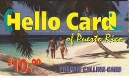 TARJETA DE PUERTO RICO DE $10 DE HELLO CARD PAREJA EN LA PLAYA - Puerto Rico