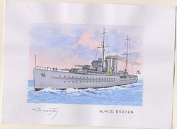 O) 2009 URUGUAY, ORIGINAL ART WORK DESIGNS, ALL OF THEM WERE ISSUED ON STAMPS SCOTT 2284,  HMS EXETER, YORK CLASS CRUISE - Uruguay
