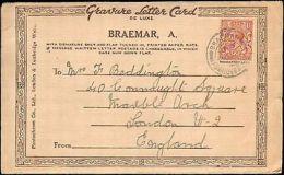 1928 GREAT BRITAIN SCOTLAND SINGLE ON BRAEMAR MULTI VIEW POSTCARD TO ENGLAND - Storia Postale