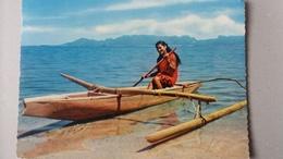 CPSM TAHITI PIROGUE DE LAGON TAHITIENNE 1973 - Polynésie Française