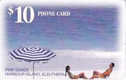 TARJETA DE BAHAMAS DE $10 DE UNA PAREJA EN LA PLAYA (HARBOUR ISLAND)