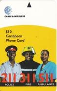 TARJETA DE BARBADOS DE EMERGENCIAS $10 POLICE-FIRE-AMBULANCE ( 323CBOB) POLICIA-BOMBERO -AMBULANCIA - Barbados