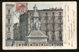 """CATANIA - 1906 - MONUMENTO A BELLINI + PUBBLICITA AL RETRO MANDOLINI """"LA MONDIALE"""" - Catania"""