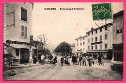 Tarare - Boulevard Voltaire - Devant Café Restaurant - Belle Animation - 1913 - C.G. TARARE - Tarare