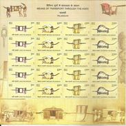 Sheet Let Of 20 MNH Stamps,(5 Sets Of 4),Means Of Transport,Long, Meeana,Chowpaul, Boutcha Palanquins, India 2017, - India