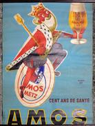 Rare Ancienne Affiche Bière Brasserie AMOS, Metz, Signé Raymond Gay, Années 1960 - Posters