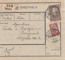JUGOSLAWIEN 1920 - 60 P + 6 D Auf Paketkarte Gel.von VINCOVCE Nach BEOGRAD - 1919-1929 Königreich Der Serben, Kroaten & Slowenen