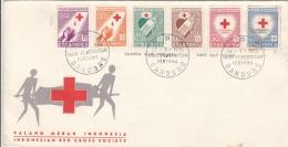 Red Cross INDONESIA 1956 - 6 Sondermarken Auf First Day Cover - Indonesien