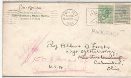 BAHAMAS PAQUEBOT CC DESDE USA 1938 MAT MIAMI AL DORSO MAT COLUMBUS - Bahamas (...-1973)