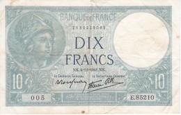 BILLETE DE FRANCIA DE 10 FRANCOS DEL 4-12-1941  (BANKNOTE) MINERVE - 1871-1952 Antiguos Francos Circulantes En El XX Siglo