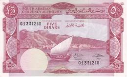 BILLETE DE YEMEN DE 5 DINARS DEL AÑO 1965 EN CALIDAD EBC (XF)   (BANKNOTE) - Yémen