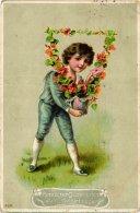 Karte Geburtstag Herzlichen Glückwunsch - Kind Blumen - Anniversaire