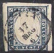 Sardegna 1860: V.E.II 20 Cmi Azzurro Grigio Stampa Granulosa Prob 15Cc O BRESCIA C1 17 MAG 61 - Sardegna