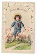 Easter Boy In Sailor Suit Lambs Sheep EAS Vintage Embossed Postcard Ca 1910 - Easter