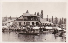 Mexico Xochimilco Canal Scene Showing Boats & Restaurant Rea