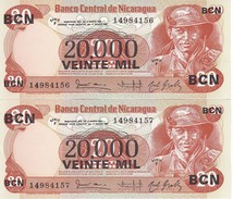 PAREJA CORRELATIVA DE NICARAGUA DE 20000 CORDOBAS DEL AÑO 1987 CON RESELLO (BANKNOTE) SIN CIRCULAR-UNCIRCULATED - Nicaragua