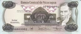 BILLETE DE NICARAGUA DE 100000 CORDOBAS DEL AÑO 1987 CON RESELLO (BANKNOTE) SIN CIRCULAR-UNCIRCULATED - Nicaragua